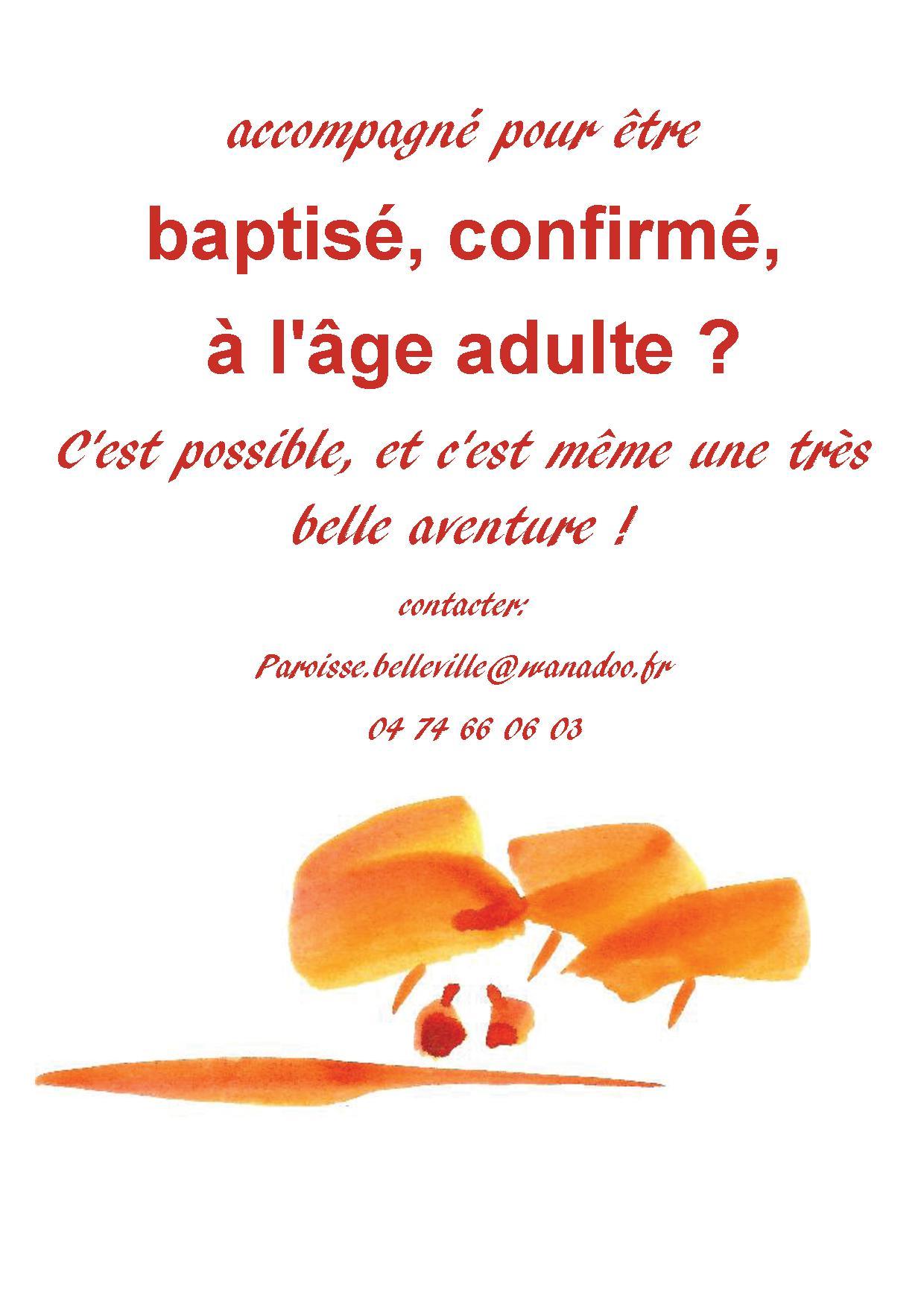 baptise confirme à l'age adulte